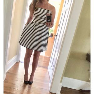 Strapless striped mini summer dress